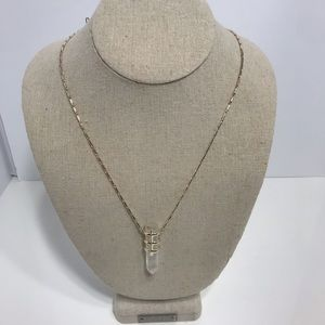 Stella dot silver & crystal drop pendant necklace